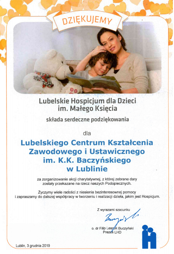 Skan dyplomu z Podziękowaniami dla LCKZiU od Lubelskiego Hospicjum dla Dzieci im. Małego Księcia za zorganizowanie akcji charytatywnej